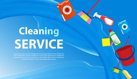 Cleaning Service blue background with a splash of water. Banner or poster with tools and cleaning products for cleanliness. Vector stock illustration