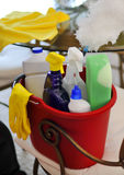 Cleaning service bucket with cleaning supplies Stock Image