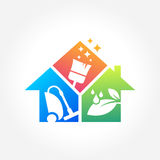 Cleaning Service Business logo design, Eco Friendly Concept for Interior, Home and Building vector illustration