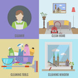 Cleaning service and  cleane tools Stock Images