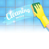 Cleaning service. Concept background for cleaning service. Hand in yellow glove cleans the blue tile Stock Photo
