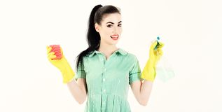 Cleaning service concept. Happy girl from cleaning service stock photography