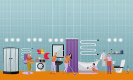 Cleaning service concept vector banner. People clean house.  Royalty Free Stock Image