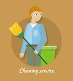 Cleaning Service Concept Vector in Flat Design Stock Photography