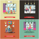 Cleaning service concept vector illustration in flat style. Housekeeping company team at work. Stock Images