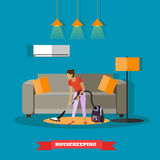 Cleaning service concept vector illustration. Woman clean home living room Royalty Free Stock Images