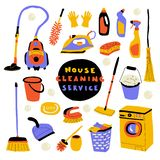Cleaning service, cute doodle set with lettering. Funny cartoon housecleaning. Hand drawn vector illustration stock images