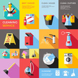Cleaning Service Decorative Flat Icons Set Royalty Free Stock Image