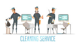 Cleaning Service Design cConcept. Cleaning service design concept with male person in uniform doing removal of waste cleaning and disinfection of premises flat Royalty Free Stock Photo