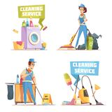 Cleaning Service 2x2 Design Concept. With employees of cleaning company washing indoor flat vector illustration Royalty Free Stock Photo