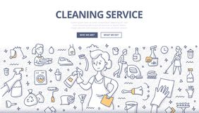 Cleaning Service Doodle Concept. Doodle vector illustration of professional housemaid in uniform with various cleaning equipment and accessories around. Concept stock illustration