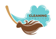 Cleaning service emblem. Vector illustration of work with broom as cleaning service logo Stock Images