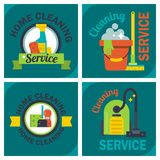 Cleaning service emblems labels design home household symbol work brush vector illustration. Royalty Free Stock Photography
