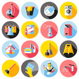Cleaning Service Flat Icons Set Royalty Free Stock Photo