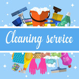Cleaning service flat illustration Stock Photography