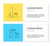 Cleaning service flayers in vector. Vector set of flayers for cleaning services Stock Photos