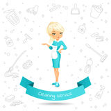 Cleaning service girl Royalty Free Stock Image