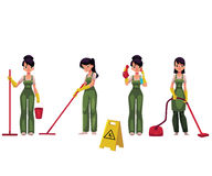 Cleaning service girl, charwoman with vacuum cleaner, mop and bucket. Set of cleaning service girl, charwoman, cleaner in overalls, cartoon vector illustration Royalty Free Stock Photos