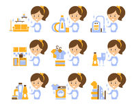 Cleaning Service Girl And Finished Tasks Set Of Illustrations. In Stylized Simplified Flat Vector Cartoon Stickers Royalty Free Stock Images