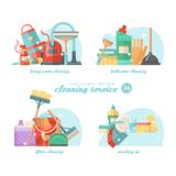 Cleanup colorful set. Cleaning service 24 hours vector illustration in modern flat design. Cleaning service 24 hours vector illustration in modern flat design Stock Image