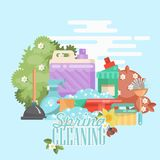 Spring cleaning banner. Cleaning service 24 hours vector illustration in modern flat design. Cleaning service 24 hours vector illustration in modern flat design Royalty Free Stock Photography