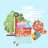 Spring cleaning bright banner. Cleaning service 24 hours vector illustration in modern flat design. Cleaning service 24 hours vector illustration in modern flat Stock Image