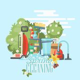 Spring cleaning bright poster. Cleaning service 24 hours vector illustration in modern flat design. Cleaning service 24 hours vector illustration in modern flat Royalty Free Stock Images