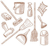 Cleaning service icon set Royalty Free Stock Photography