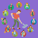 Cleaning Service Icon Set. Cleaning service round icon set. Man and woman with cleaning equipment and detergent. Cleaning staff characters. House cleaning Stock Image