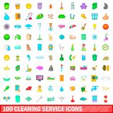 100 cleaning service icons set, cartoon style. 100 cleaning service icons set in cartoon style for any design illustration vector illustration