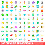 100 cleaning service icons set, cartoon style Royalty Free Stock Images
