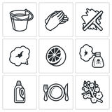 Cleaning service icons set. Vector Illustration. Royalty Free Stock Images