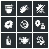 Cleaning service icons set. Vector Illustration. Stock Photo