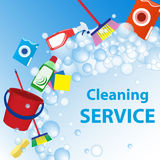 Cleaning service illustration. Poster template for house cleanin Stock Images