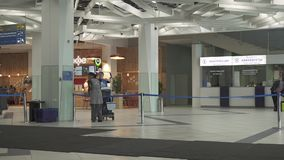 Cleaning service at the International Novosibirsk Tolmachevo Airport stock footage video stock video footage