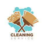 Cleaning service isolated logotype with broom and mop on white Stock Photography