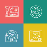 Cleaning service labels in linear design style Royalty Free Stock Images