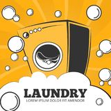 Cleaning service and laundry vector concept background, poster royalty free illustration
