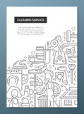 Cleaning Service - line design brochure poster template A4 Stock Image