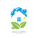 Cleaning service  logo, emblem or icon design template. Clean house and green leaves  illustration. Home with lather, soap foam and water drops Stock Images