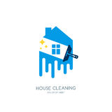 Cleaning service  logo, emblem or icon design template. Stock Photo