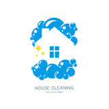 Cleaning service  logo, emblem or icon design template. Clean house isolated illustration. Home with lather, soap foam and water drops Stock Photography