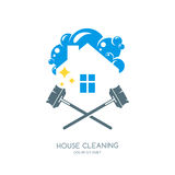 Cleaning service  logo, emblem or icon design template. Clean house and mops  illustration. Home with lather, soap foam and water drops Royalty Free Stock Photo