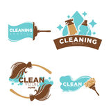 Cleaning service logo emblems with equipments set on white Stock Photos