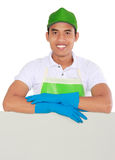 Cleaning service man presenting Stock Images