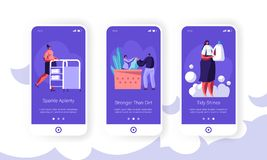 Cleaning Service Mobile App Page Onboard Screen Set. Receptionist, Worker Push Cart, Woman with Detergent in Public Laundry. Cleaning Service Mobile App Page stock illustration