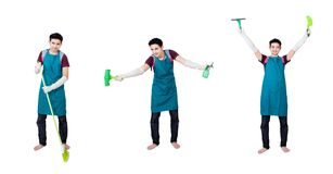 Cleaning service multi pose man Royalty Free Stock Image