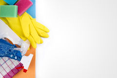Cleaning service products and equipment with copy space Stock Photography