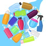 Cleaning service round pattern vector illustration. Plastic containers bottles, tubes and jars for cream, body lotion. Shampoo and soap, milk and gel stock illustration