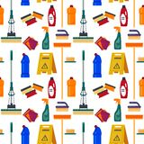 Cleaning service seamless pattern. House tools, flat illustration, household equipment background, cleanser, mop, sponge, n. Apkin bucket royalty free illustration